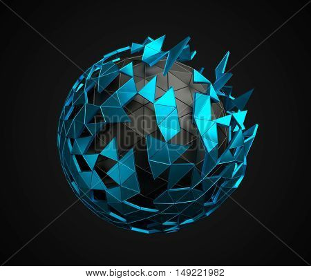Abstract 3d rendering of low poly sphere with chaotic structure. Sci-fi background with polygonal shape in empty space. Futuristic design.