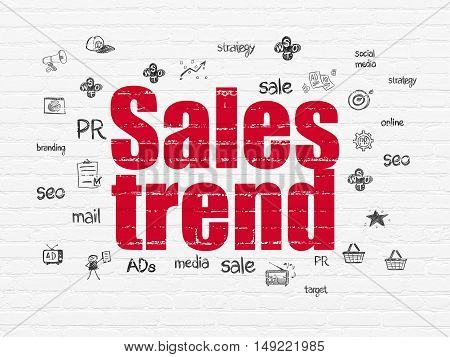 Advertising concept: Painted red text Sales Trend on White Brick wall background with  Hand Drawn Marketing Icons