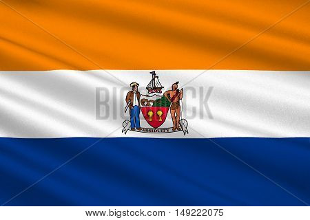Flag of Albany is the capital of New York state United States. 3D illustration