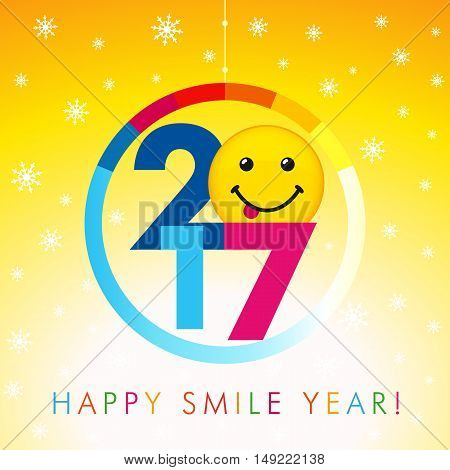 Happy holidays card with snow flakes and color figures 2017 and smile with tongue. 2017 happy smile year card