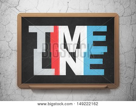 Time concept: Painted multicolor text Timeline on School board background, 3D Rendering
