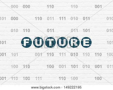 Time concept: Painted blue text Future on White Brick wall background with Binary Code