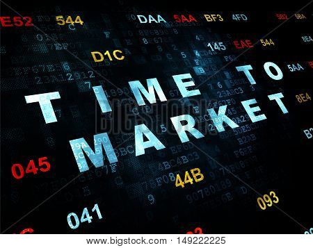 Timeline concept: Pixelated blue text Time to Market on Digital wall background with Hexadecimal Code