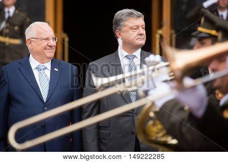 Petro Poroshenko And President Of Israel Reuven Rivlin