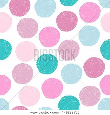 Pink blue turquoise random grunge round shapes seamless pattern. Colorful sketch circle on white background. Abstract polka dot seamless wallpaper. Vector illustration.