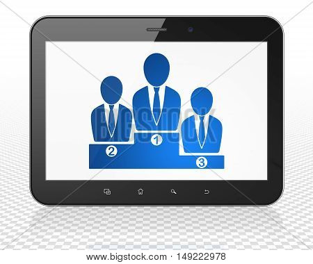 Business concept: Tablet Pc Computer with blue Business Team icon on display, 3D rendering