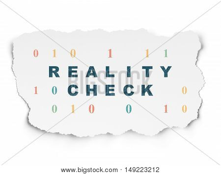 Finance concept: Painted blue text Reality Check on Torn Paper background with  Binary Code