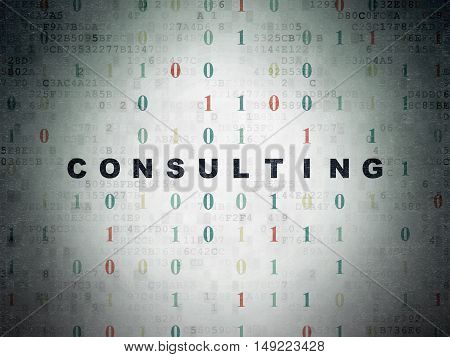 Business concept: Painted black text Consulting on Digital Data Paper background with Binary Code