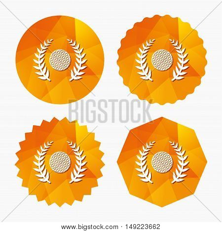 Golf ball sign icon. Sport laurel wreath symbol. Winner award cup. Triangular low poly buttons with flat icon. Vector