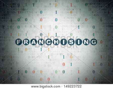 Business concept: Painted blue text Franchising on Digital Data Paper background with Binary Code