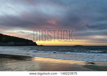 Sand Beach - Dramatic Sunrise Over the Ocean