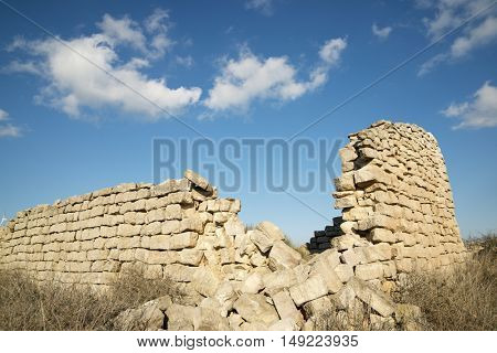 Rural building ruin in Huesca Province, Aragon, Spain.