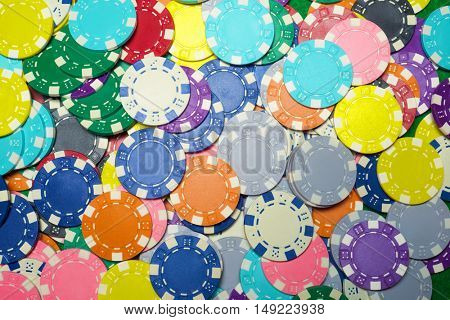 Background created with casino chips.
