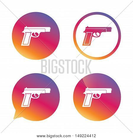 Gun sign icon. Firearms weapon symbol. Gradient buttons with flat icon. Speech bubble sign. Vector