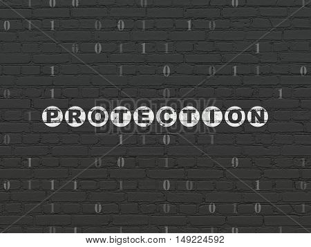 Protection concept: Painted white text Protection on Black Brick wall background with Binary Code