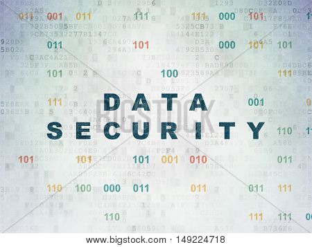 Safety concept: Painted blue text Data Security on Digital Data Paper background with Binary Code