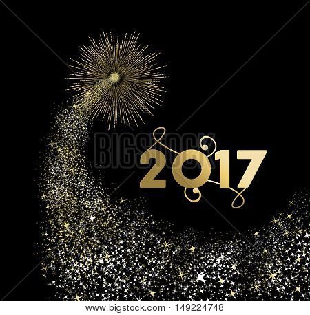 Happy New Year 2017 Gold Firework Design