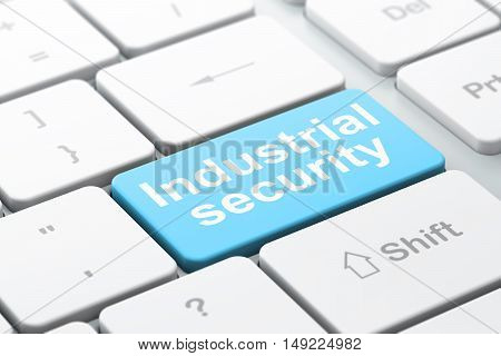 Safety concept: computer keyboard with word Industrial Security, selected focus on enter button background, 3D rendering
