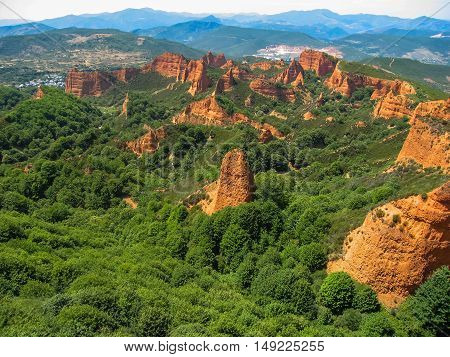 Landscape With Beutiful And Unique Red Rock Formations At Las Madulas, Spain