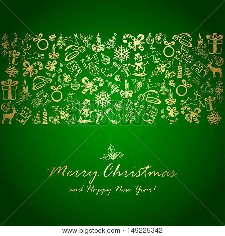 Holiday decorations with golden Christmas elements on green background, illustration.