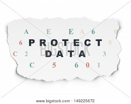 Security concept: Painted black text Protect Data on Torn Paper background with  Hexadecimal Code