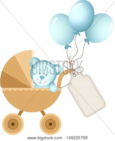Scalable vectorial image representing a boy teddy bear in baby carriage with label tag, isolated on white.