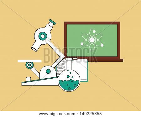 flat design microscope with science related icons image vector illustration