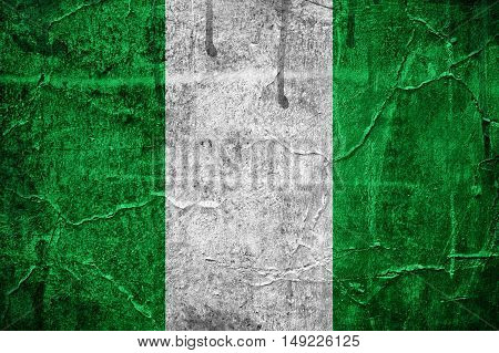 Flag of Nigeria overlaid with grunge texture