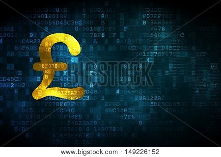 Currency concept: pixelated Pound icon on digital background, empty copyspace for card, text, advertising