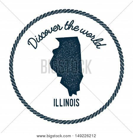 Illinois Map In Vintage Discover The World Rubber Stamp. Hipster Style Nautical Postage Stamp, With