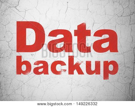Data concept: Red Data Backup on textured concrete wall background