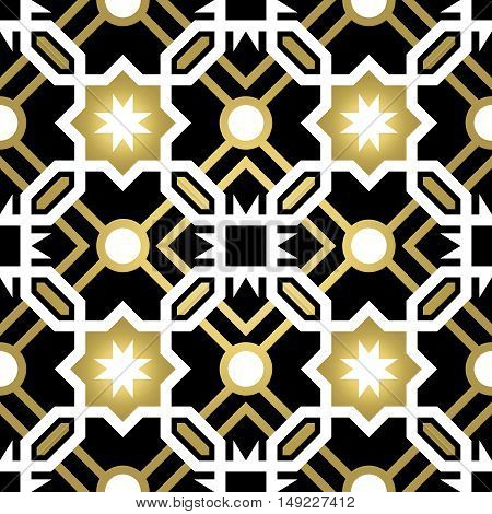 Gold Ceramic Tile Abstract Seamless Pattern