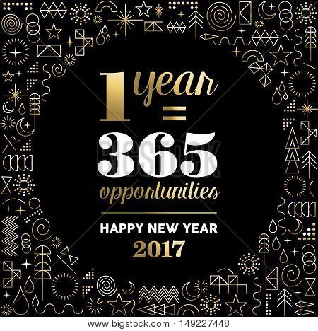 Happy new year 2017 gold design with motivational text quote for inspiration and line art icons background. EPS10 vector.