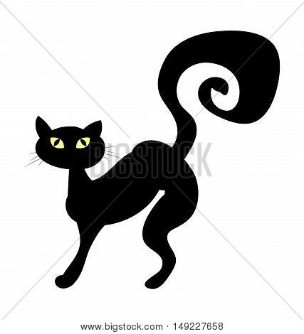 Halloween Creepy Scary Witches Cat Vector Symbol Icon Design.