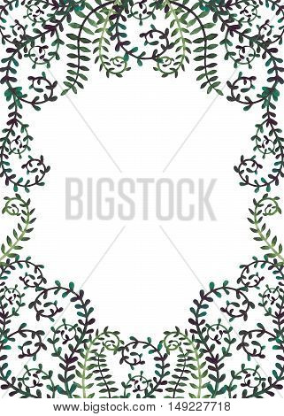Frame with Watercolor Curly Deep Green Vine and Leaves