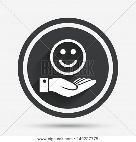 Smile and hand sign icon. Palm holds happy face symbol. Circle flat button with shadow and border. Vector