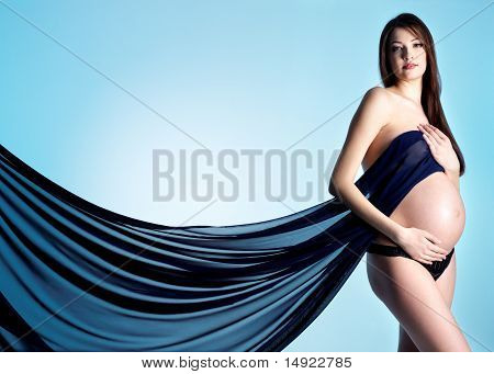 Beautiful And Elegance Pregnant Woman In Blue Material