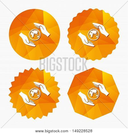 Worldwide insurance sign icon. Hands protect cover planet symbol. Travel insurance. World peace. Triangular low poly buttons with flat icon. Vector