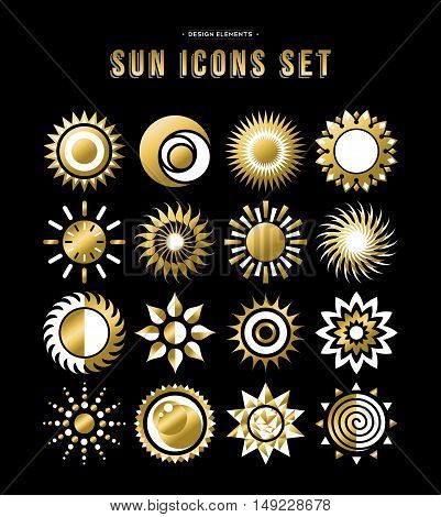 Set of sun icon illustrations abstract gold designs in flat art for weather or climate project. EPS10 vector.