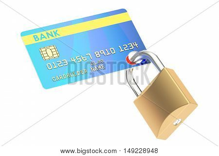 Credit Card Security concept 3D rendering isolated on white background