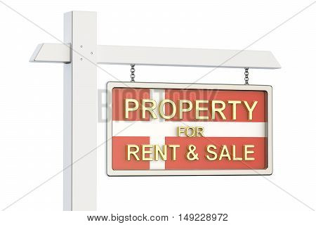 Property for sale and rent in Denmark concept. Real Estate Sign 3D rendering isolated on white background