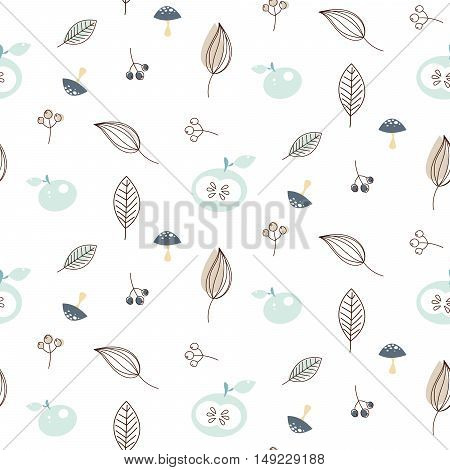 Apples and leaves seamless vector nature pattern. White and blue winter pattern background.