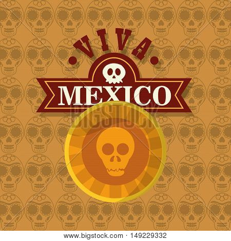 skull emblem with mexican culture related icons image vector illustration