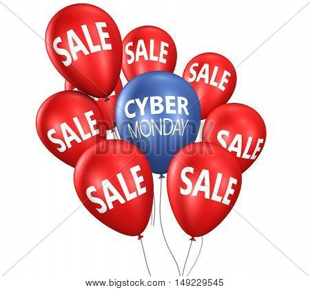 Cyber monday Christmas shopping sale concept with sign on balloons 3D illustration.