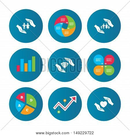 Business pie chart. Growth curve. Presentation buttons. Hands insurance icons. Couple and family life insurance symbols. Heart health sign. Diamond jewelry symbol. Data analysis. Vector