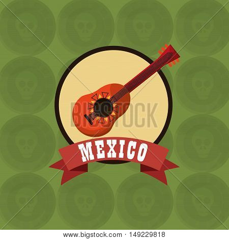 guitarron emblem with mexican culture related icons image vector illustration