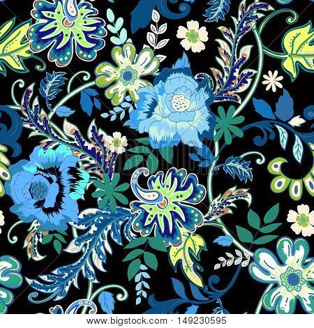 Seamless floral background. Colorful isolated flowers and leafs on black background. Design for prints, wallpaper, textile. Vector illustration.