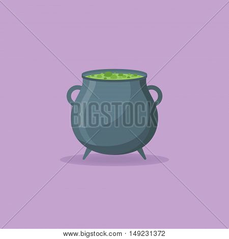 Witches cauldron with green potion isolated on purple background. Flat style icon. Vector illustration.