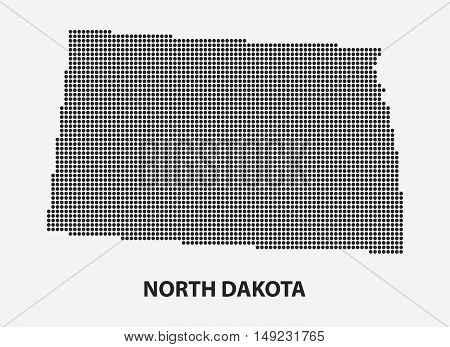 Dotted map of the State North Dakota. The form with black points on light background. Vector illustration.