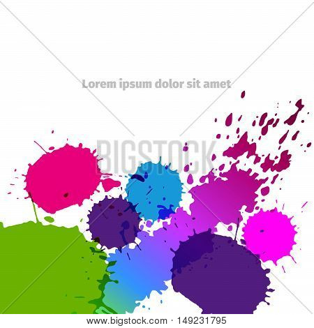 Vector colored paint splashes on white background. Colorful background with drops. Abstract banner.